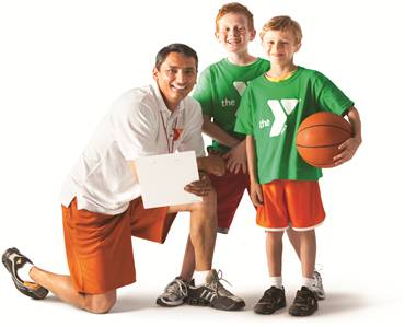 ymca coach and two youths basketball